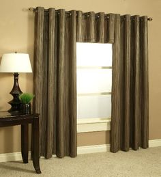 Trendex Home Designs 54-Inch by 108-Inch Curtain with Grommets, Cappuccino by Trendex Home Designs, http://www.amazon.com/dp/B004R9OVSC/ref=cm_sw_r_pi_dp_Y6E-qb0WZ0GXF $18 each Amazon.com