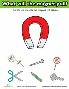 First Grade Science Worksheets: Introduction to Magnets Science Center Preschool, Fourth Grade Science, Elementary Science, Science Projects For Preschoolers, Science Experiments Kids, Science For Kids, Chemistry Worksheets, Worksheets For Kids, Kindergarten Lessons