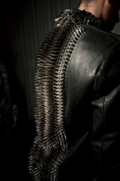 spiked spine on leather jacket - shot by David Lenaz - pinned by RokStarroad.com