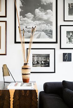 b&w print gallery wall, oversized mats = perfection