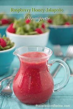 Raspberry Honey Jalapeño Vinaigrette; it's sweet, spicy, summery and super delicious! - thecafesucrefarine.com
