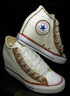 5d28ea877aeb Sparkly Converse All Stars Wedge Sneakers Heels Bling Crystals Bride  Wedding Shoes