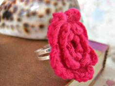 red crochet flower ring