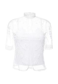 Блуза River Island выполнена из легкого полупрозрачного сетчатого материала. Детали: воротник-стойка
