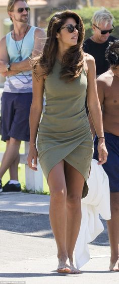 You shore look good: Actress Pia Miller looked sensational at Bronte beach in Sydney in a khaki dress on Saturday