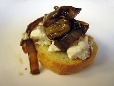 Caramelized Onion Chevre Crostini With Balsamic Reduction