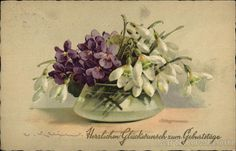 Violets and Snowdrops Bouquet in Vase Flowers