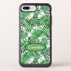 Custom Tropical Green Palm Leaves Summer Pattern Speck iPhone Case - floral gifts flower flowers gift ideas