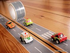 Race Car Tape Kit #myfirstautobahn.  What a cool idea.  What child would not play cars for hours with this on the floor!