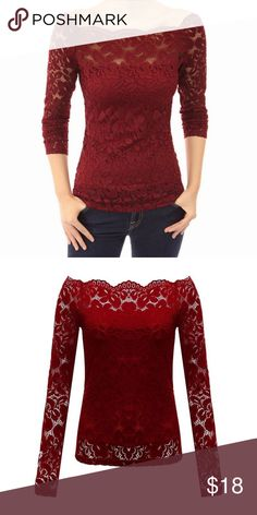 Women Off Shoulder Slash Neck Lace Solid Women Off Shoulder Slash Neck Lace Solid Long Sleeve Blouse red NWT  Lace Clothing Length: Regular Sleeve Style: Regular Pattern Type: Floral Style: Fashion \ Material: Cotton,Polyester Collar: Slash neck Full Sleeve Free Shipping  shipped fast  buy with confidence from Debbie Di's   Any question please message ...ships same day most times if ordered before 1:00 PM EST if not then next business day .. Thank you SIZE XL   US SIZE 12   37.4 BUST LINE…