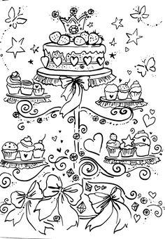 Livro de Colorir Arteterapia Criativa - Adult Coloring pages Cupcake