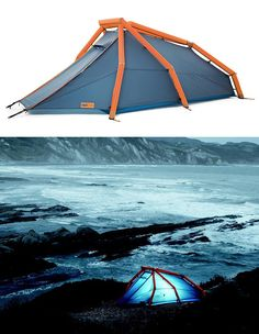 Heimplanet Wedge /  If your excuse for not going camping is that putting up your tent is a pain, you should probably stay home. Or just get a new tent. One like The Wedge. Instead of dealing with tent poles and shock cords and stakes, all you have to do with this one is unpack & inflate.