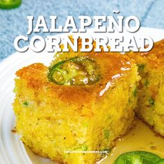 This from scratch cheesy jalapeno cornbread is a crowd pleaser. The secret to super moist cornbread is creamed corn. Top it with honey for a sweet & spicy treet. The best appetizer or side dish for chili or barbecue. Creamed Corn Cornbread, Cheesy Cornbread, Jalapeno Cheddar Cornbread, Moist Cornbread, Honey Cornbread, Homemade Cornbread, Best Cornbread Recipe For Chili, Side Dishes For Bbq, Sides For Chili