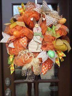Easter bunny wreath, Easter wreath, spring wreath, Easter mesh wreath, spring…