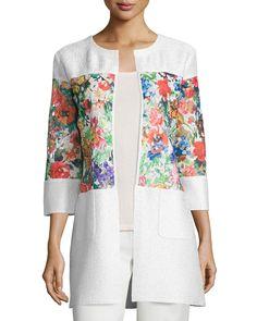Floral-Inset Crinkle Jacket, Women's, Size: LARGE (12), Multi/Ivory - Berek