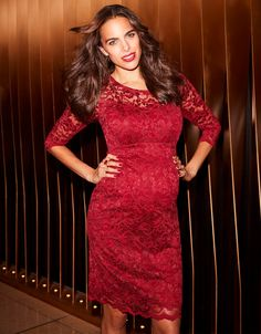06964ba3359 Cause a stir in a little red maternity dress! Made in luxury claret red lace