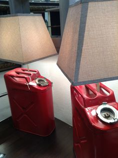 vintage gas can lamps--two available at $115 each. Booth 704
