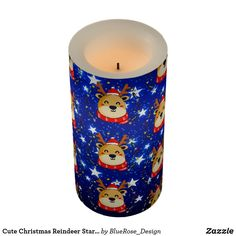 Cute Christmas Reindeer Starry Blue Flameless Candle Flameless Candles, Led Candles, Holiday Cards, Christmas Cards, Christmas Decorations, Christmas Items, Christmas Card Holders, Decorating Your Home, Reindeer