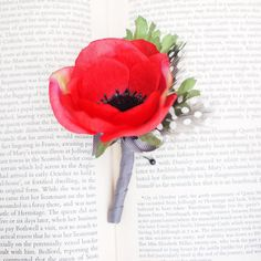 Vibrant Red Silk Poppy Boutonniere Buttonhole Pin by LindenFlowers, £8.50