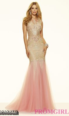 Image of floor length gold lace illusion neckline open back dress Front Image