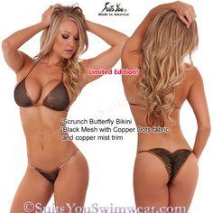 Mesh Bikini, unique black mesh with copper dots and copper mist trim, scrunch bottom.