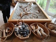 Just a picture, a sand (sensory) table. I love this display of all the natural and wooden materials.
