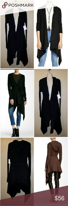 Free People black cardigan sweater Free People black asymmetrical cardigan Sweater size MEDIUM (NOTE: photo of back of sweater in maroon just used to depict fit of sweater I only have black sweater) Free People Sweaters Cardigans