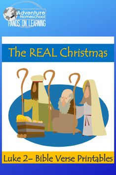 Real Christmas Bible Verses for Kids - Scriptures from Luke 2 for homeschool, family, and children's ministry use. Christmas Bible Verses, Bible Verses For Kids, Free Preschool, Preschool Kindergarten, Luke 2, Middle School, Sunday School, Learn To Read, Teaching Kids