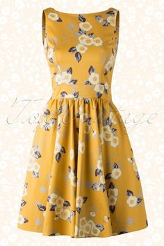Lady V Tea Dress With Flowers Yellow 102 89 15468 20150611 018W