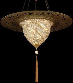 Fortuny Lighting Luminoso Design Samarkanda Murano Glass in Gold Serpentina Pattern with Metal Ring Fortuny Lamp, Pendant Lighting, Chandelier, Lighting Concepts, Gold Pattern, Vintage Pottery, Light Shades, Murano Glass, Decoration
