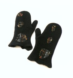 Felted mittens  black wool mittens  winter fashion by AgnesFelt,