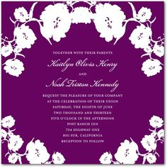 Signature White Wedding Invitations Contrasting Poppies - Front : Purple