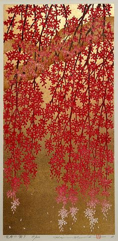 """Drooping Blossoms 9"" by Hajime Namiki, an original woodblock print, signed and numbered in pencil. Edition of 200, 2008."