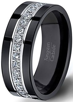 diamond for mens black tungsten ring fully stacked with brilliant diamond inset diamond mens ring with camo inlay in - Wedding Ring Mens