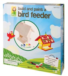 4M PROJECT KITS, Build and Paint a Bird Feeder. Contains wooden bird feeder, paint pots & brush. (Product #: FMK-2956)  #garden #birds #food #outdoors #craft #crafting #hobby