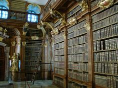 """Impressivelibraryof Melk Abbey,with countlessmedievalmanuscripts, including a famed collection of musical manuscripts andfrescosbyPaul Troger.  In his well-known novelThe Name of the Rose,Umberto Econamed one of the protagonists """"Adson von Melk"""" as a tribute to the abbey and its famous library."""