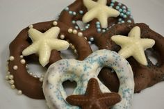 Beach Themed  Chocolate Covered Pretzels for by SuesSweetShop, $21.00