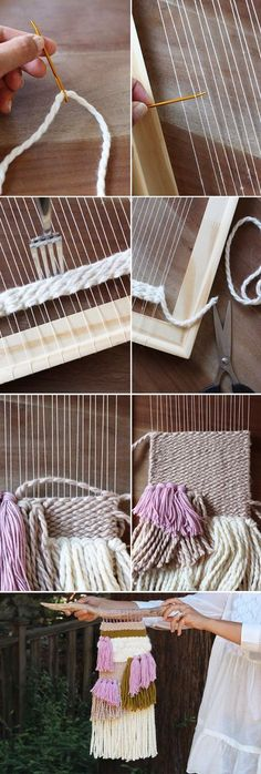 Woven Wall Hanging DIY Weaving Tutorial - make your own textile art using a makeshift loom made from an old photo frameDIY Weaving Tutorial - make your own textile art using a makeshift loom made from an old photo frame Weaving Textiles, Tapestry Weaving, Loom Weaving, Wall Tapestry, Weaving Projects, Craft Projects, Macrame Projects, Craft Ideas, Woven Wall Hanging