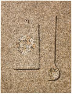 """thunderstruck9: """" Jiří Kolář (Czech, 1914-2002), Untitled, 1969. Text collage over wooden spoon and slat on wood, 52.8 x 40.2 cm. """" more"""