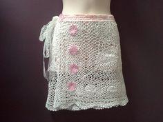 WHITE CROCHET SKIRT crochet wrap skirt festival by SwirlnTwirlKids