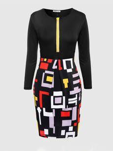 Color Block Geometric Round Neck Plus Size Bodycon Dress