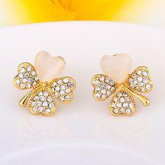 Boucles d'oreilles Femme Classique Fleur Plaqué or Plaqué or rose Alliage Cristal