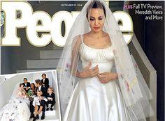 First look at Angelina Jolie and Brad Pitt wedding photos. Versace Wedding Dress, Versace Gown, Wedding Dress With Veil, Wedding Dress Pictures, Wedding Veil, Wedding Photos, Dream Wedding, Celebrity Wedding Dresses, Wedding Dresses 2014