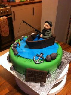 fondant fishing pole   made the fishing rod myself out of wire and flower paste therefore ...