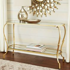 Ours exclusively, the Chasca Rectangle Console Table combines a hand-forged, hand-painted iron base with a clear, durable tempered glass top and shelf. A brilliant way to add functionality without taking up visual space. Iron Furniture, Living Room Furniture, Living Room Decor, Entryway Decor, Entryway Tables, Grey Bedroom Design, Sofa Tables, Console Tables, Cozy House