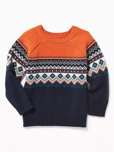 Old Navy Fair Isle Sweater for Toddler Boys , Boys Sweaters, Winter Sweaters, Men Sweater, Baby Boy Knitting Patterns, Fair Isle Pattern, Baby Cardigan, Sweater Design, Diy Clothes, Knitwear