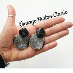 Vintage Button Classic  #soutache #earrings #orecchini