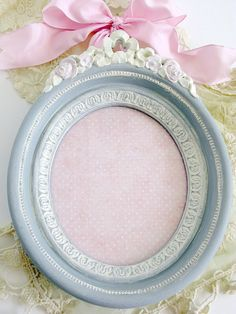 Oval Frame Gray White Cream Pink Vintage Homco 9 Hand Painted Baby Nursery Shabby Cottage