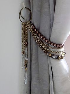 SET OF 2 Swarovski tiebacks, bronze and brown pearls drapery holders Bohemian faceted crystals decorative curtain tieback