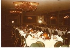 An old photo of the Florentine Room.  We've made many changes over the years, but the chandeliers are still here!  #TBT #ballroom #PeronaFarms #wedding #retro